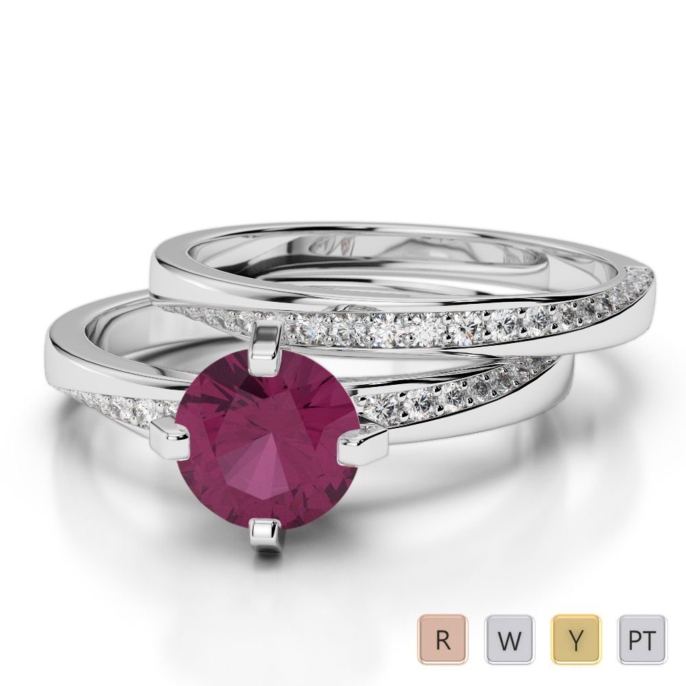 Gold / Platinum Round cut Ruby and Diamond Bridal Set Ring AGDR-2001