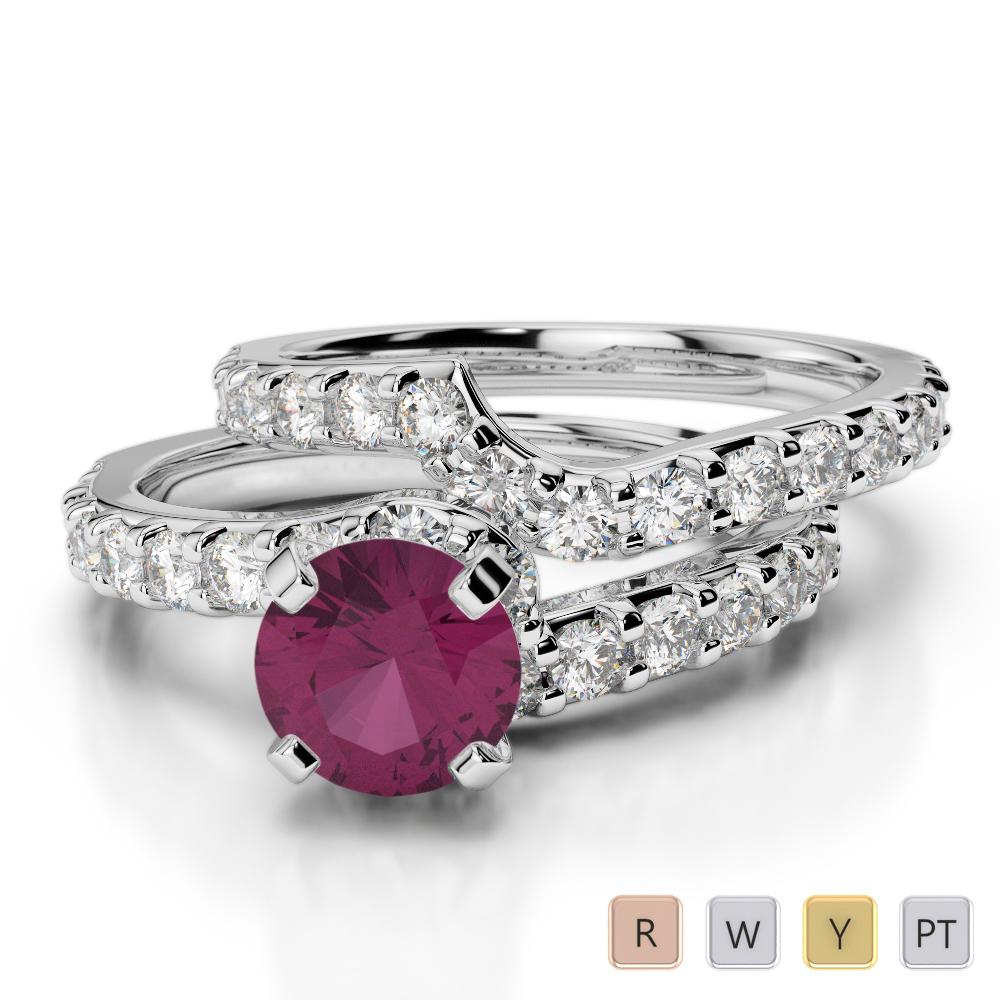 Gold / Platinum Round cut Ruby and Diamond Bridal Set Ring AGDR-2003