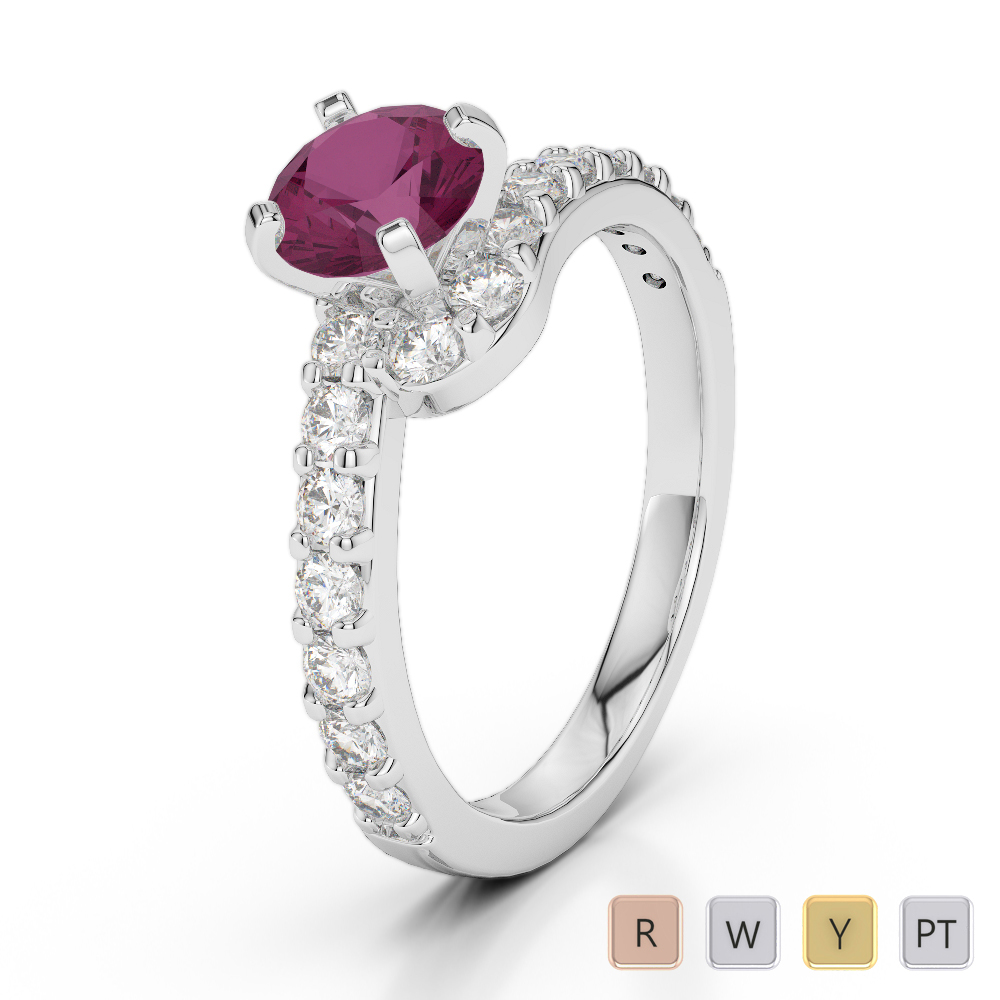 Gold / Platinum Round Cut Ruby and Diamond Engagement Ring AGDR-2004