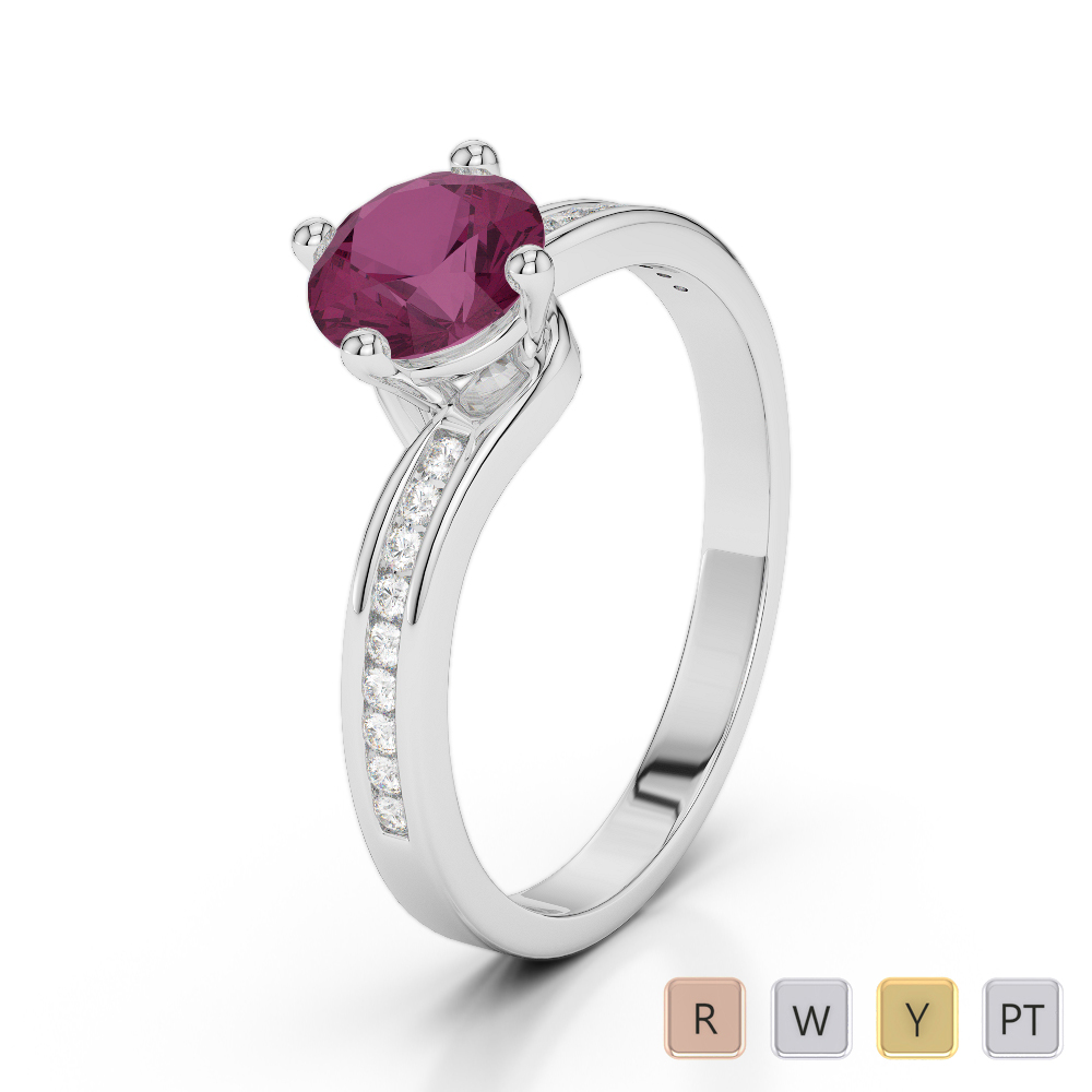 Gold / Platinum Round Cut Ruby and Diamond Engagement Ring AGDR-2006