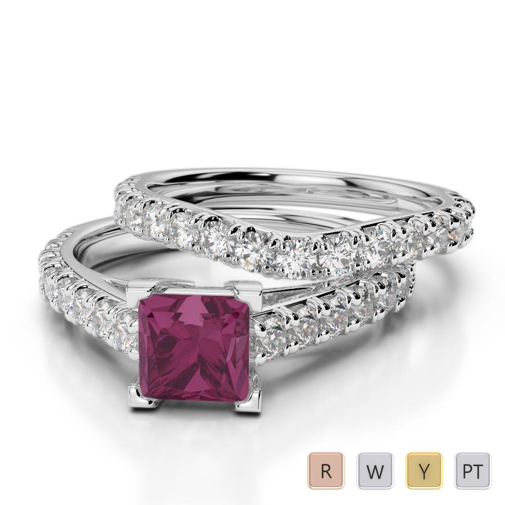 Gold / Platinum Round and Princess Cut Ruby and Diamond Bridal Set Ring AGDR-2007
