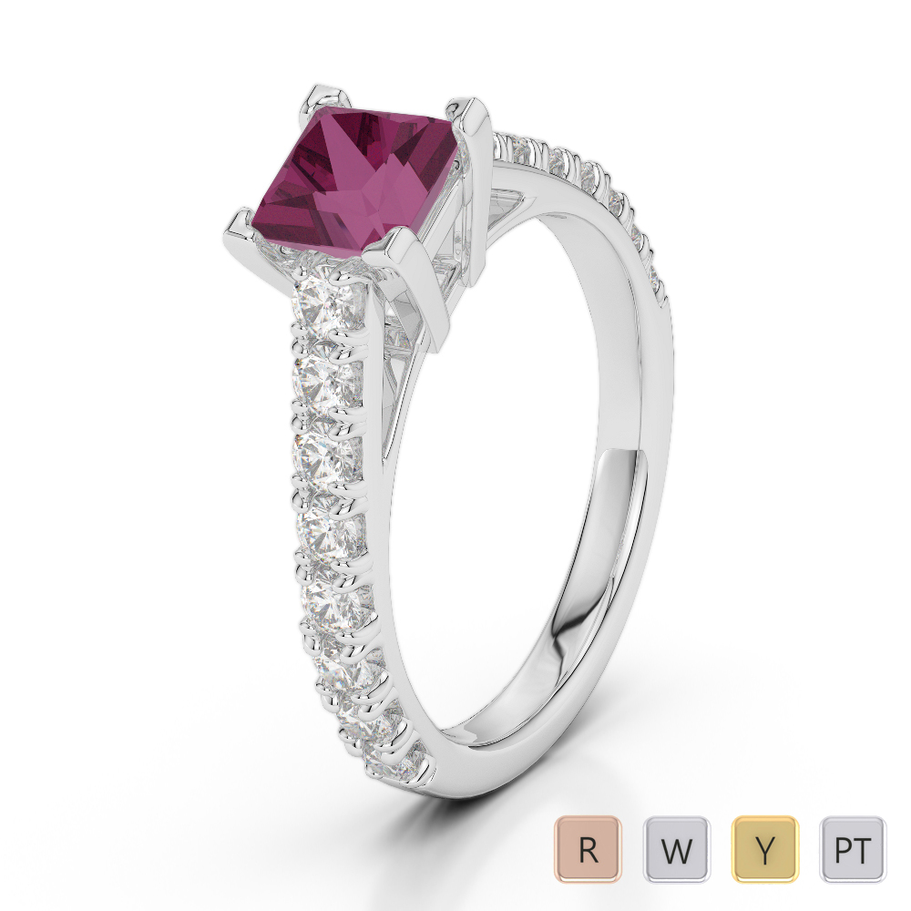 Gold / Platinum Round and Princess Cut Ruby and Diamond Engagement Ring AGDR-2008