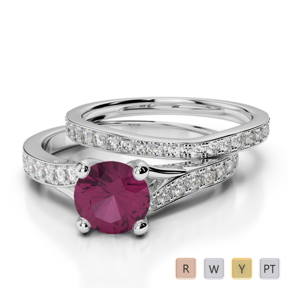 Gold / Platinum Round cut Ruby and Diamond Bridal Set Ring AGDR-2011