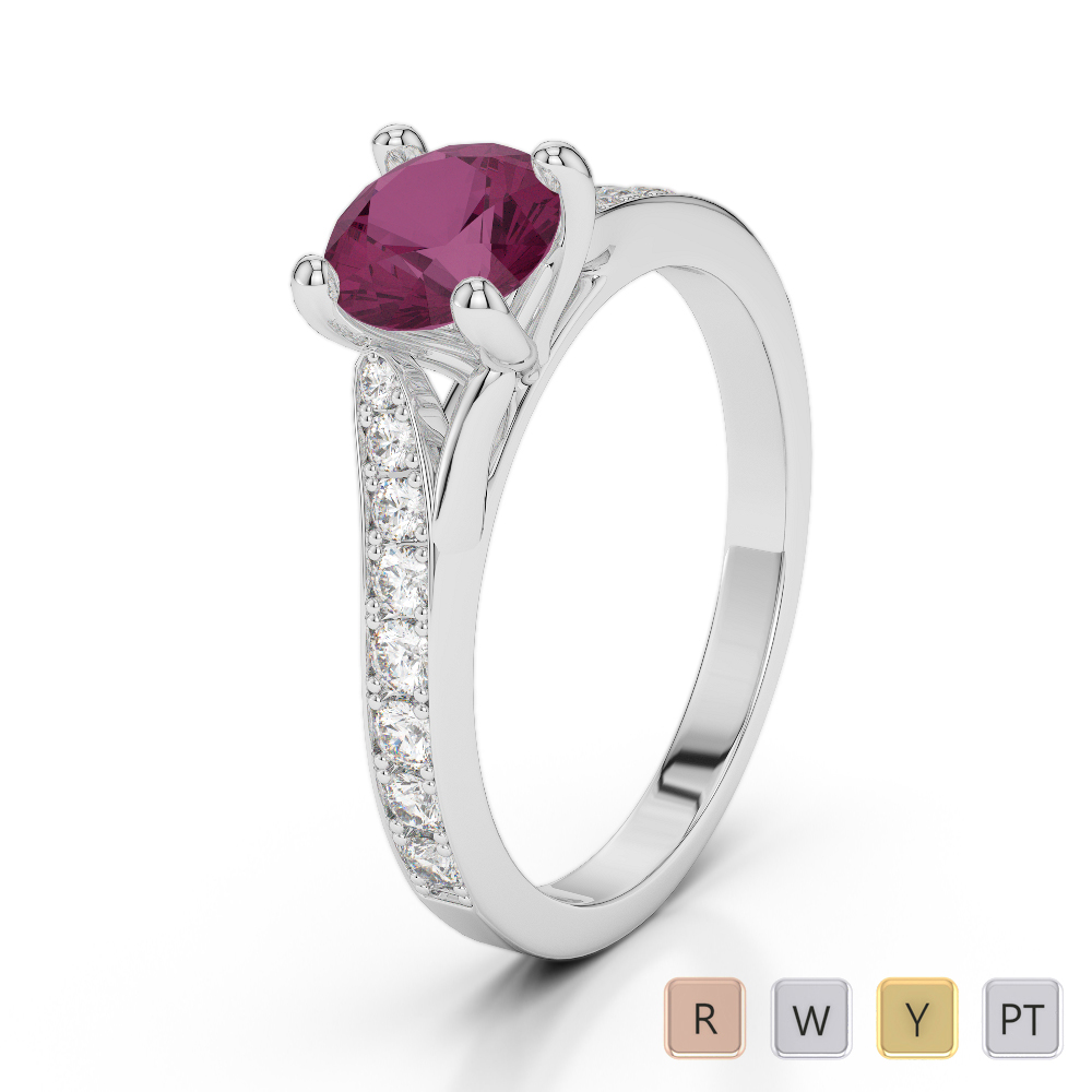 Gold / Platinum Round Cut Ruby and Diamond Engagement Ring AGDR-2012