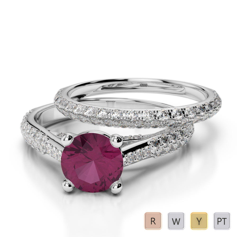 Gold / Platinum Round cut Ruby and Diamond Bridal Set Ring AGDR-2013