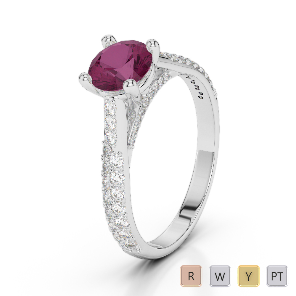 Gold / Platinum Round Cut Ruby and Diamond Engagement Ring AGDR-2014