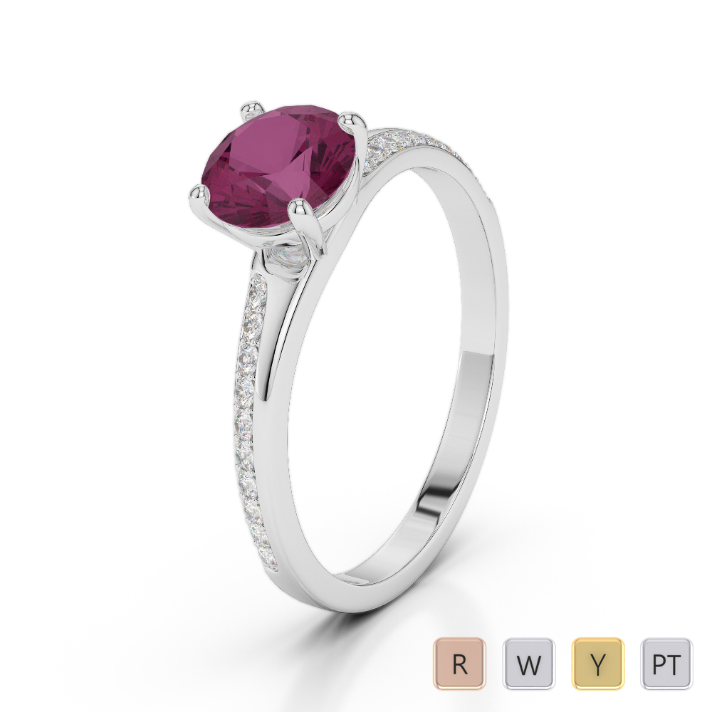 Gold / Platinum Round Cut Ruby and Diamond Engagement Ring AGDR-2016