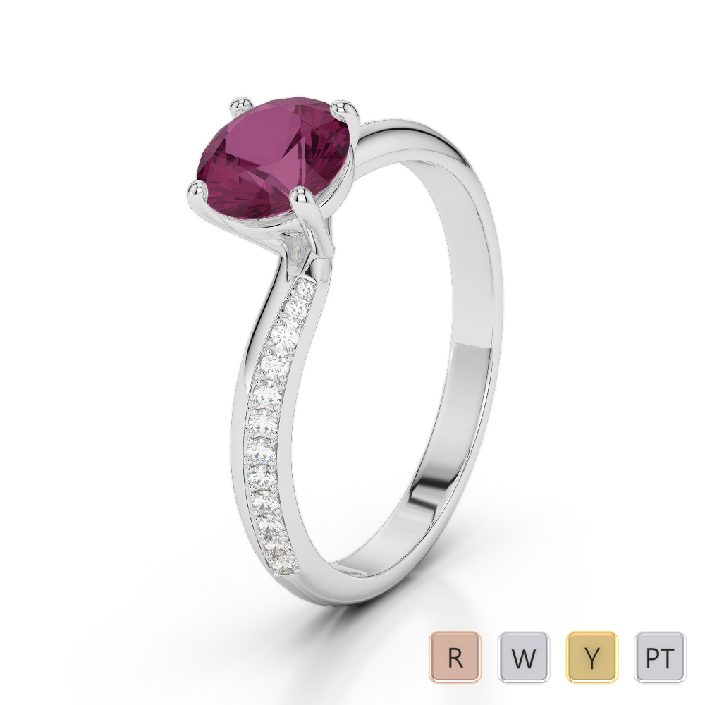 Gold / Platinum Round Cut Ruby and Diamond Engagement Ring AGDR-2018