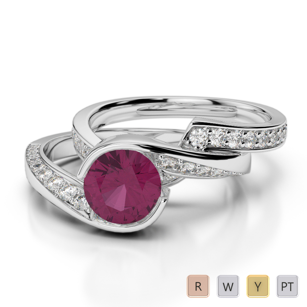 Gold / Platinum Round cut Ruby and Diamond Bridal Set Ring AGDR-2019
