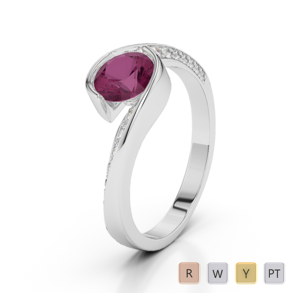 Gold / Platinum Round Cut Ruby and Diamond Engagement Ring AGDR-2020