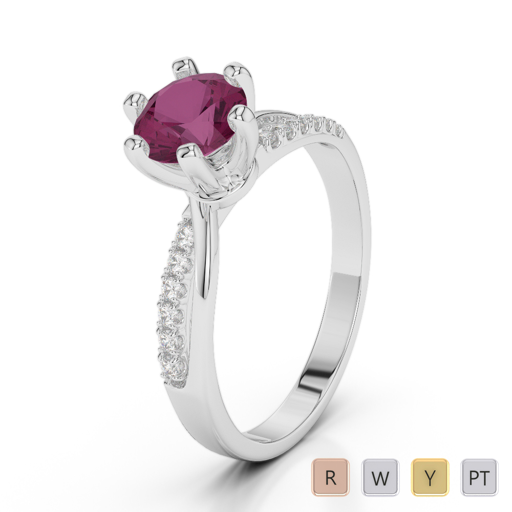 Gold / Platinum Round Cut Ruby and Diamond Engagement Ring AGDR-2022