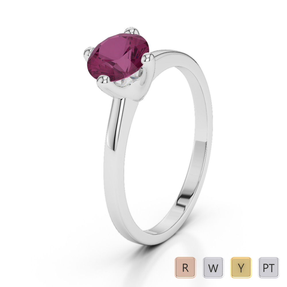 Gold / Platinum Round Cut Ruby Engagement Ring AGDR-2028