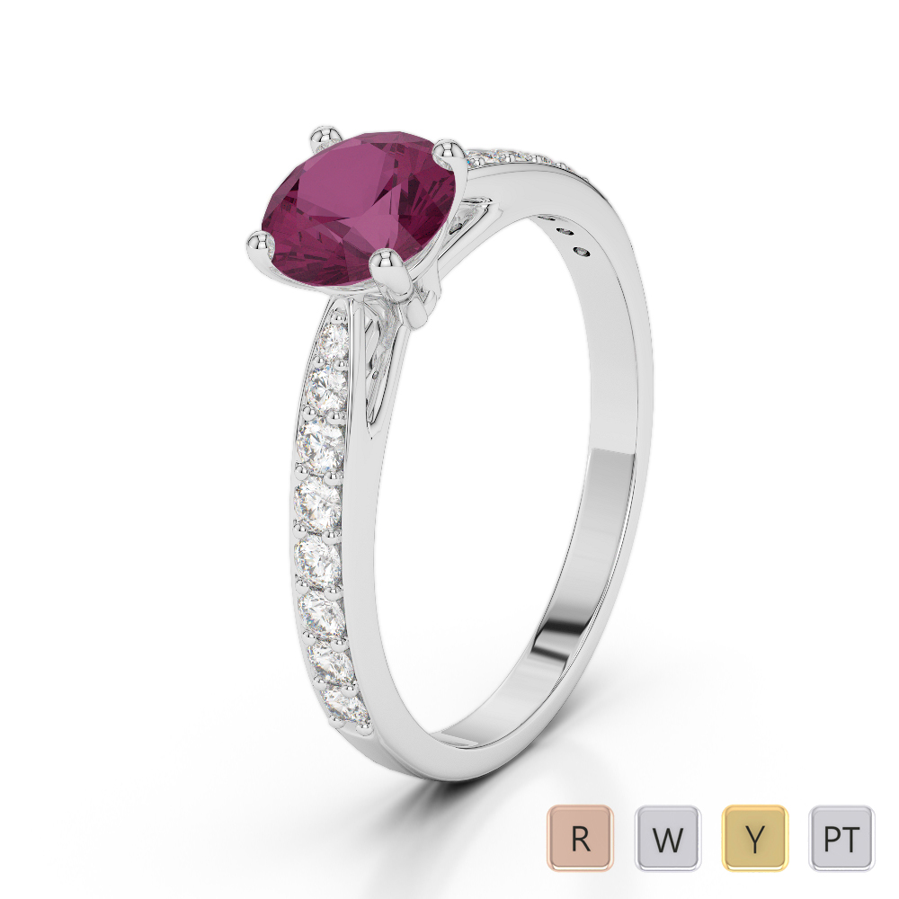 Gold / Platinum Round Cut Ruby and Diamond Engagement Ring AGDR-2032