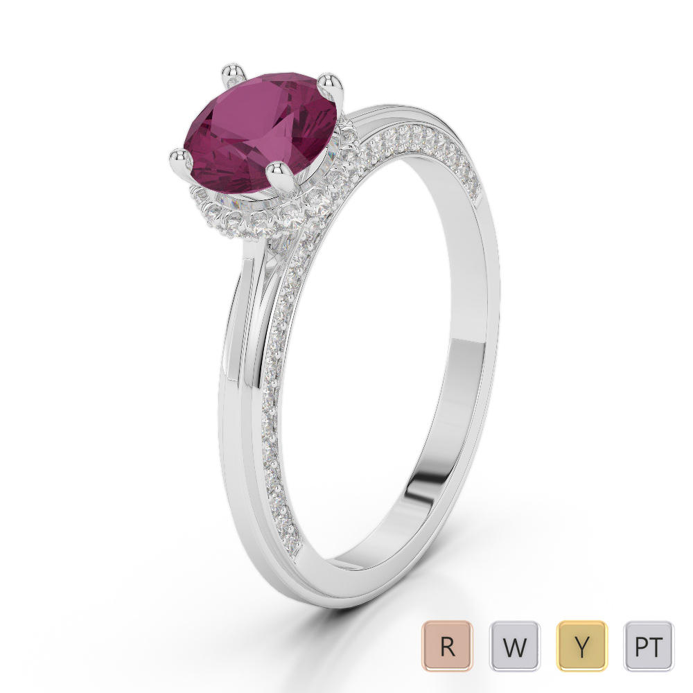 Gold / Platinum Round Cut Ruby and Diamond Engagement Ring AGDR-2034