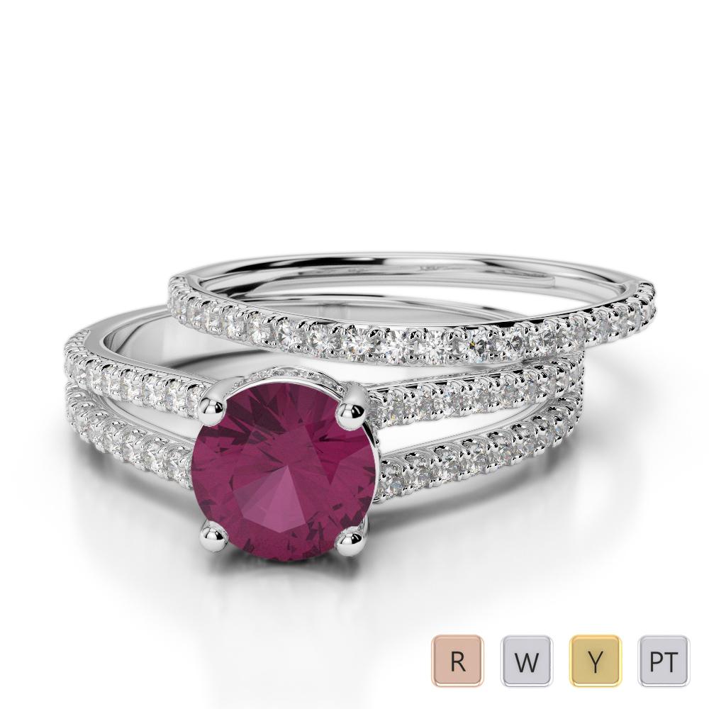 Gold / Platinum Round cut Ruby and Diamond Bridal Set Ring AGDR-2035