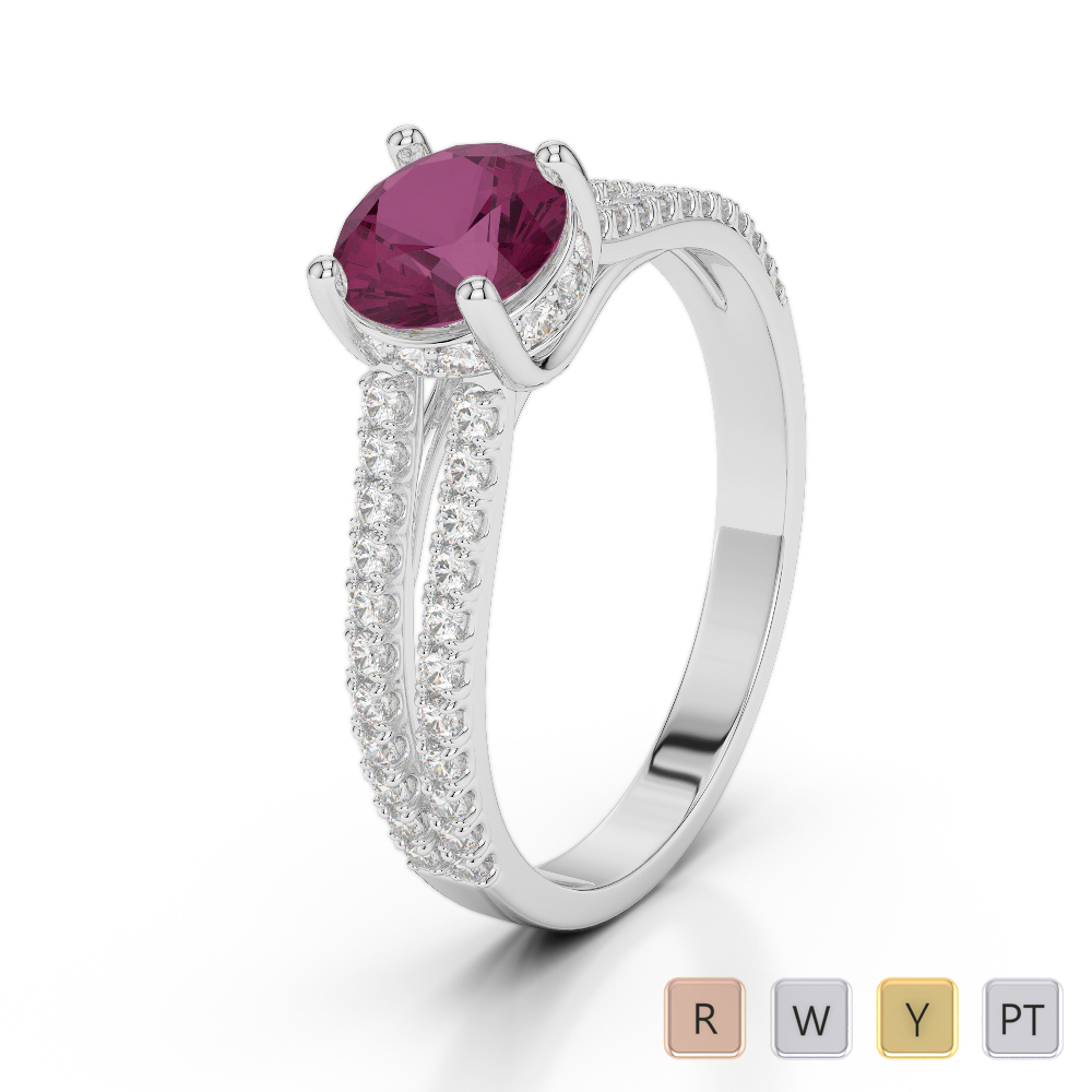 Gold / Platinum Round Cut Ruby and Diamond Engagement Ring AGDR-2036