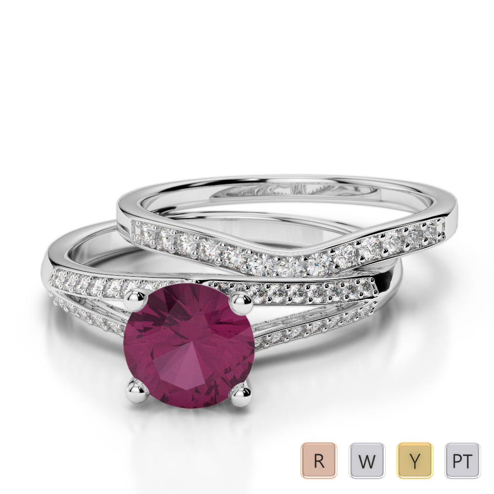 Gold / Platinum Round cut Ruby and Diamond Bridal Set Ring AGDR-2037