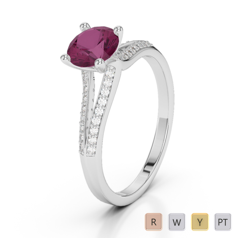Gold / Platinum Round Cut Ruby and Diamond Engagement Ring AGDR-2038
