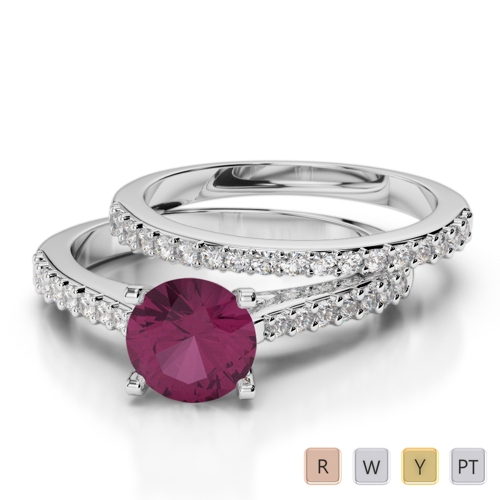 Gold / Platinum Round cut Ruby and Diamond Bridal Set Ring AGDR-2039