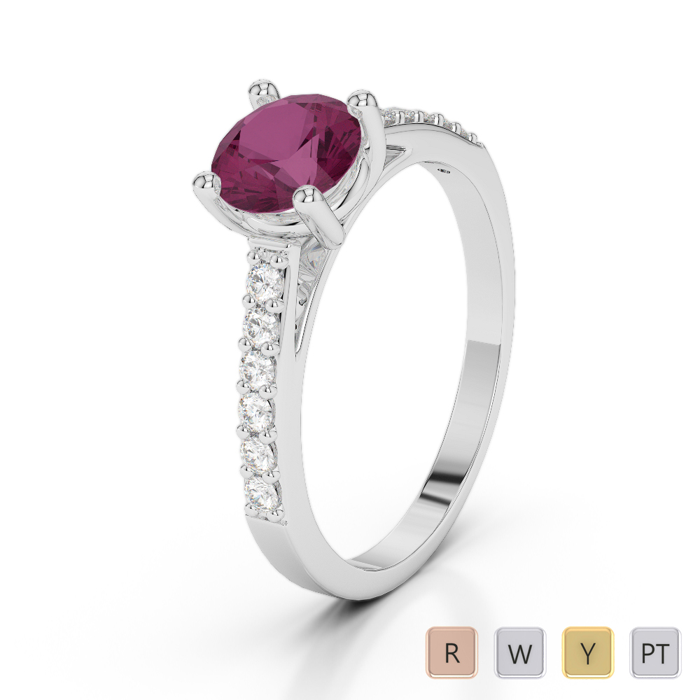 Gold / Platinum Round Cut Ruby and Diamond Engagement Ring AGDR-2042