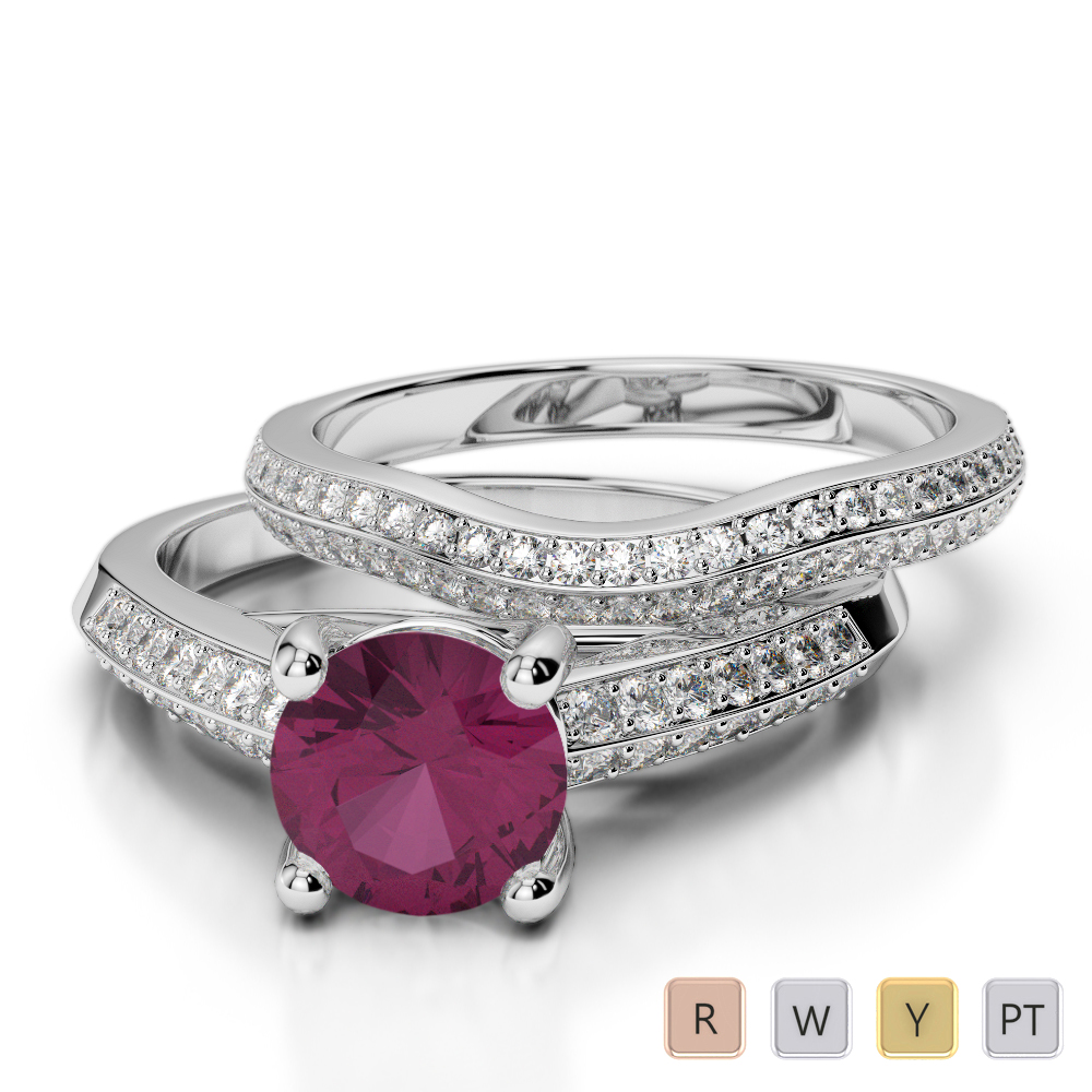 Gold / Platinum Round cut Ruby and Diamond Bridal Set Ring AGDR-2043