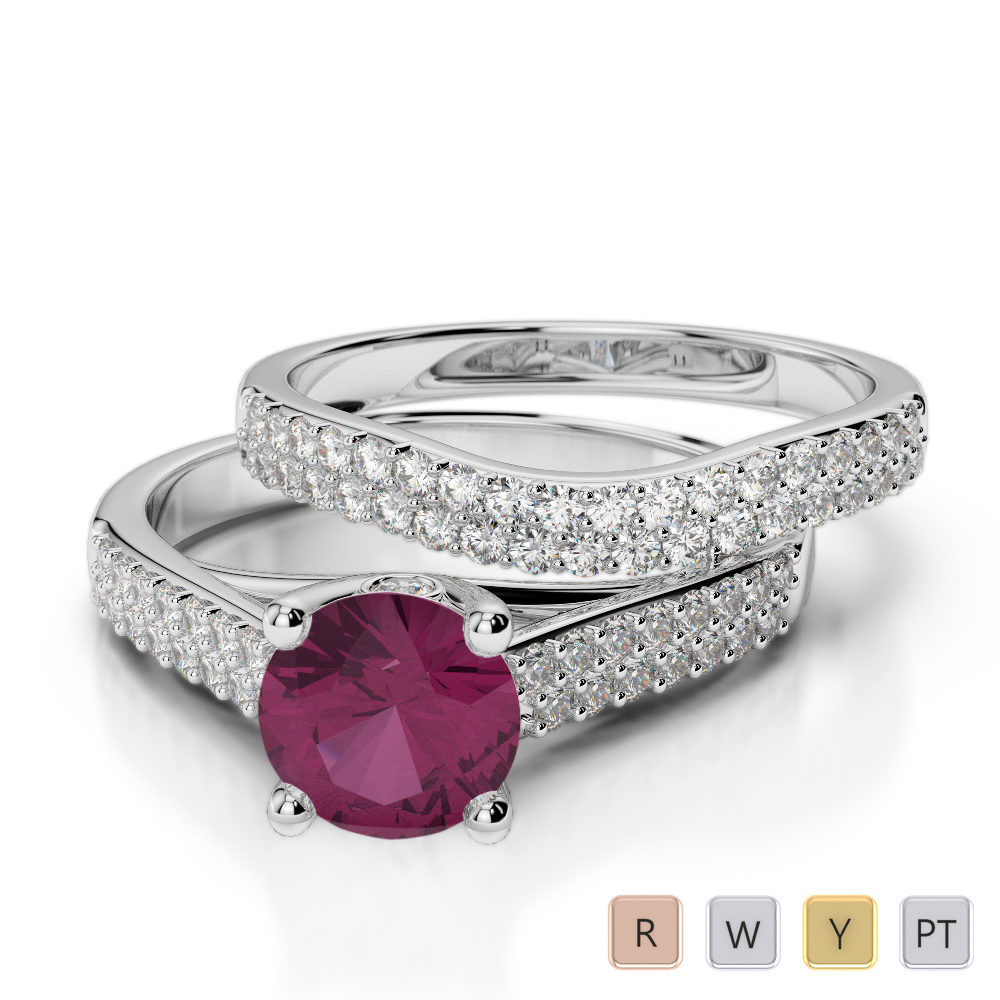 Gold / Platinum Round cut Ruby and Diamond Bridal Set Ring AGDR-2045