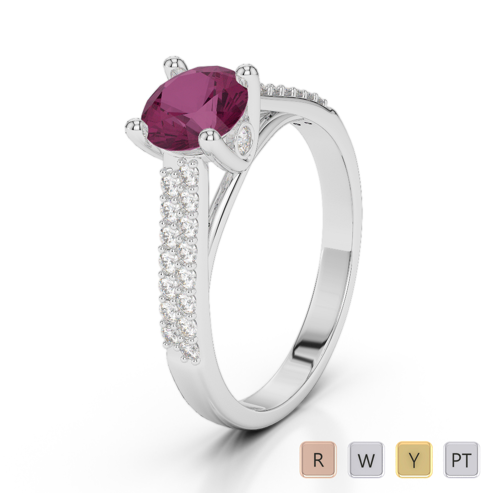 Gold / Platinum Round Cut Ruby and Diamond Engagement Ring AGDR-2046