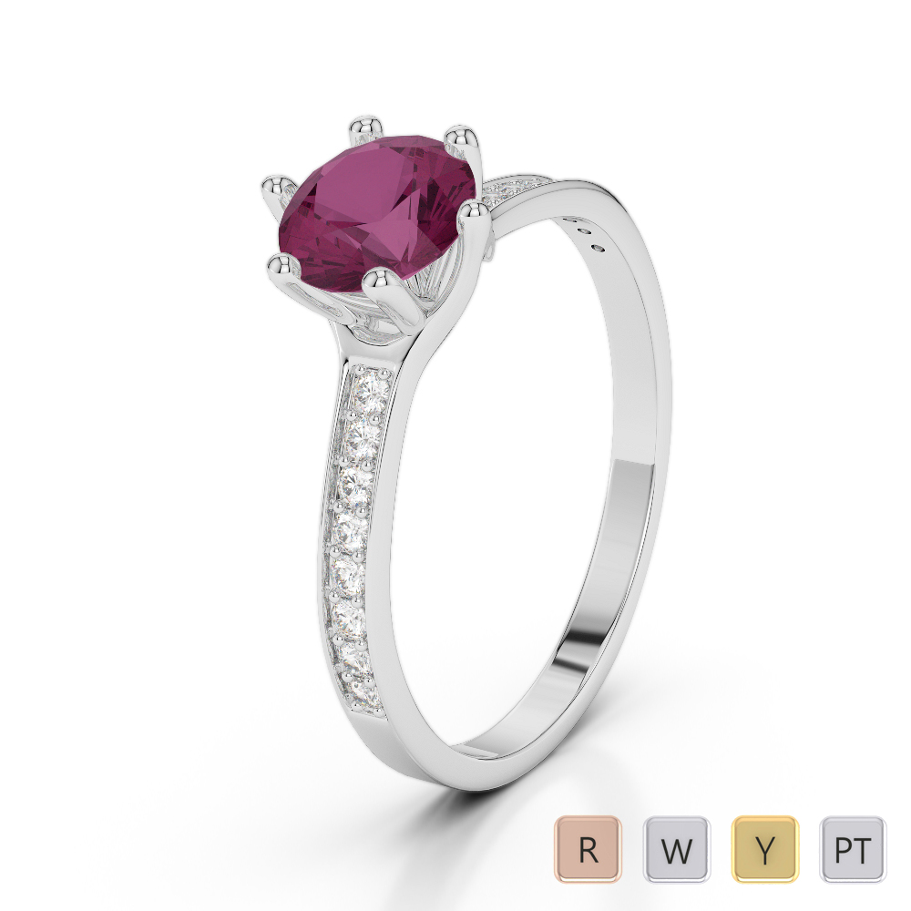 Gold / Platinum Round Cut Ruby and Diamond Engagement Ring AGDR-2050