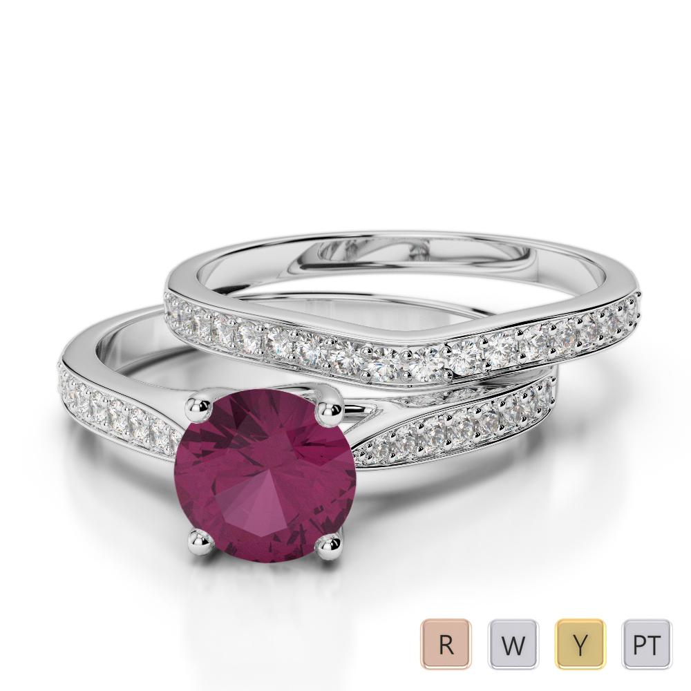 Gold / Platinum Round cut Ruby and Diamond Bridal Set Ring AGDR-2053