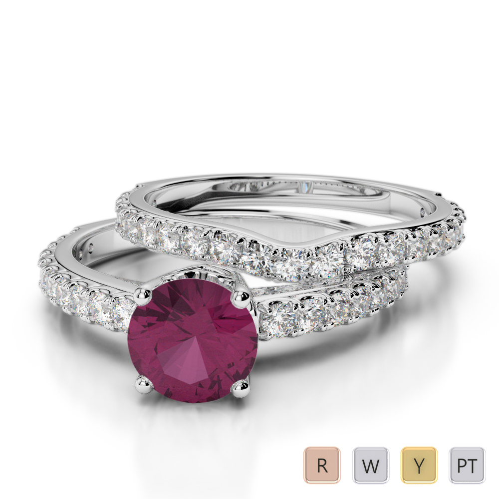 Gold / Platinum Round cut Ruby and Diamond Bridal Set Ring AGDR-2055