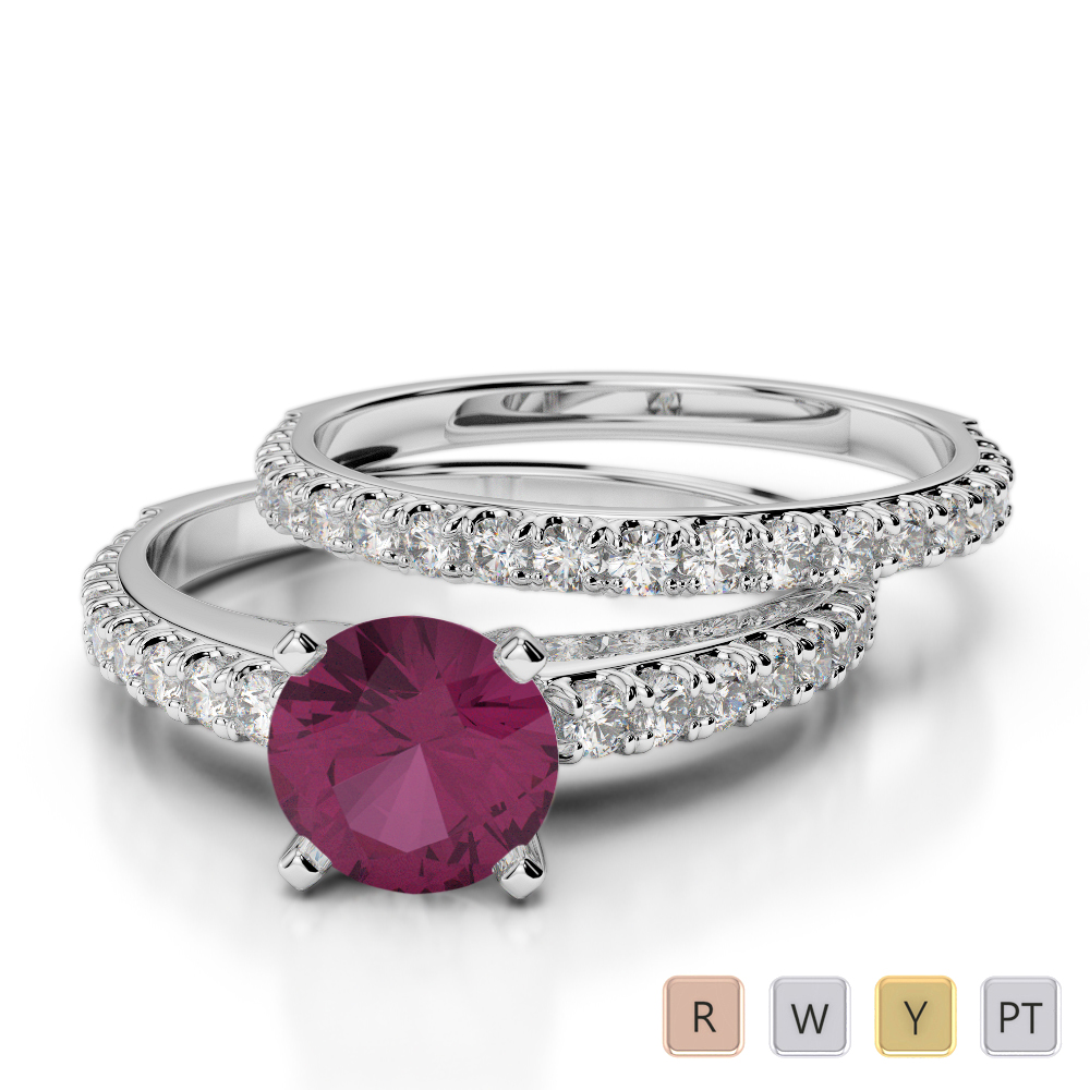 Gold / Platinum Round cut Ruby and Diamond Bridal Set Ring AGDR-2057