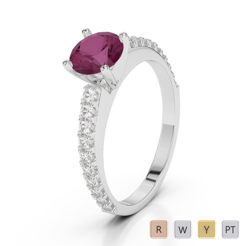 Gold / Platinum Round Cut Ruby and Diamond Engagement Ring AGDR-2058
