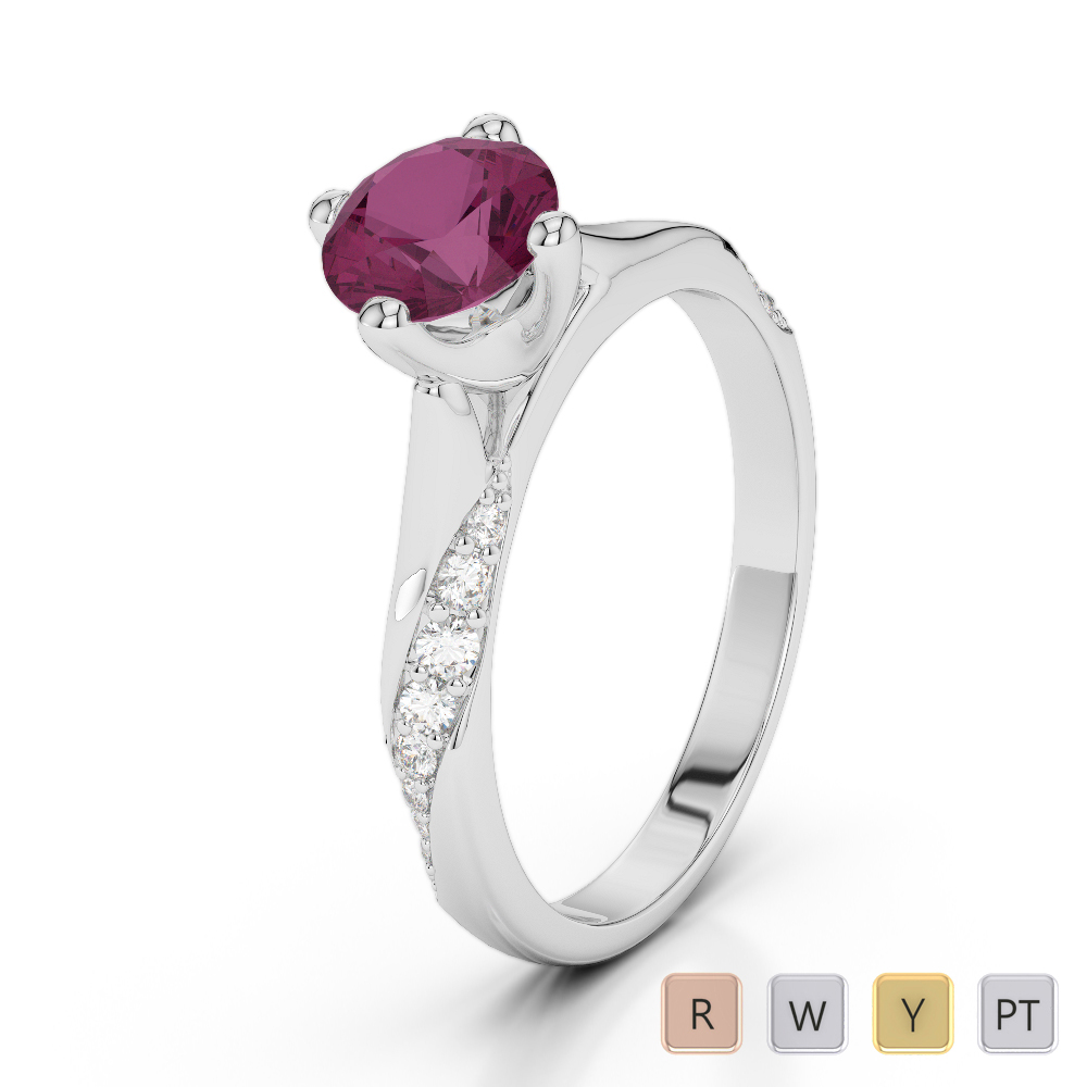 Gold / Platinum Round Cut Ruby and Diamond Engagement Ring AGDR-2060