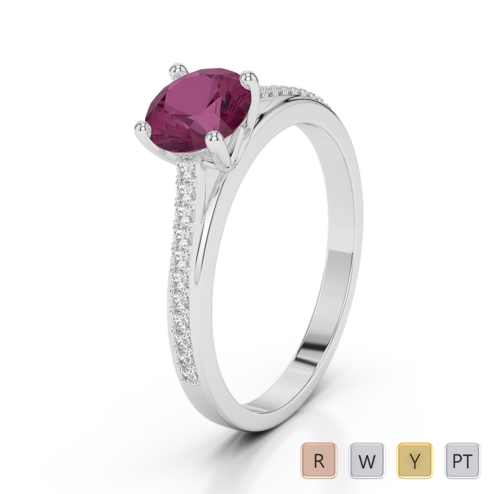 Gold / Platinum Round Cut Ruby and Diamond Engagement Ring AGDR-2062
