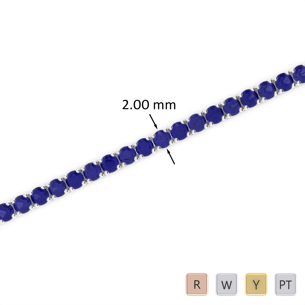 3 Ct Sapphire Bracelet in Gold/Platinum AGBRL-1003
