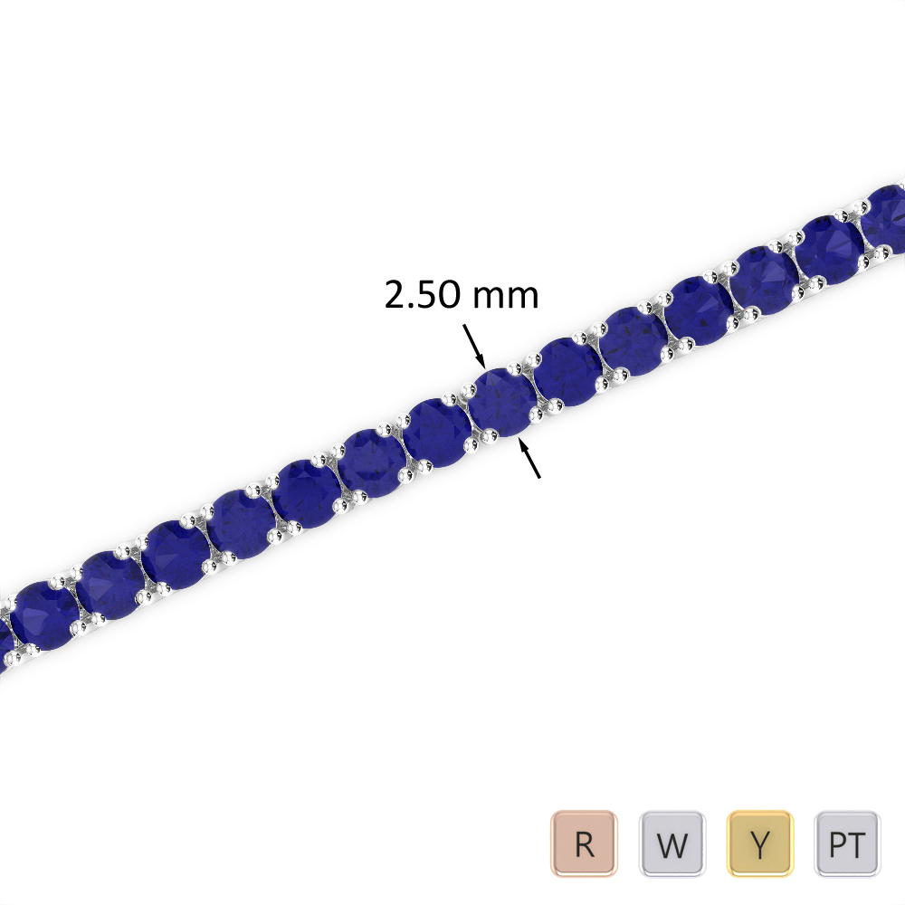 5 Ct Sapphire Bracelet in Gold/Platinum AGBRL-1006
