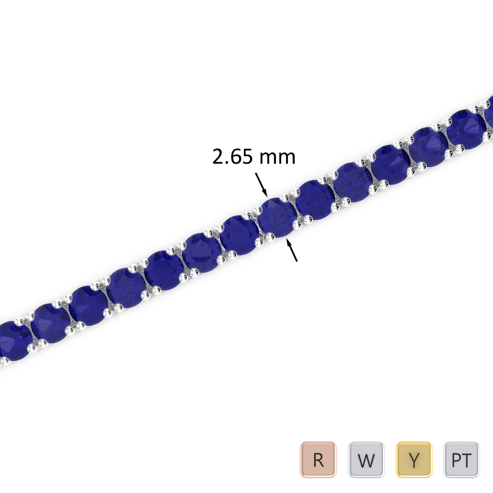 6 Ct Sapphire Bracelet in Gold/Platinum AGBRL-1007
