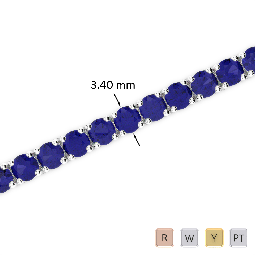 10 Ct Sapphire Bracelet in Gold/Platinum AGBRL-1009