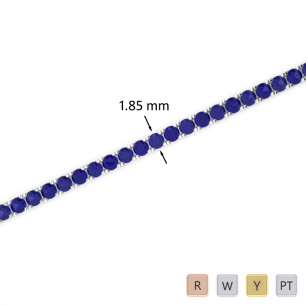 2 Ct Sapphire Bracelet in Gold/Platinum AGBRL-1013