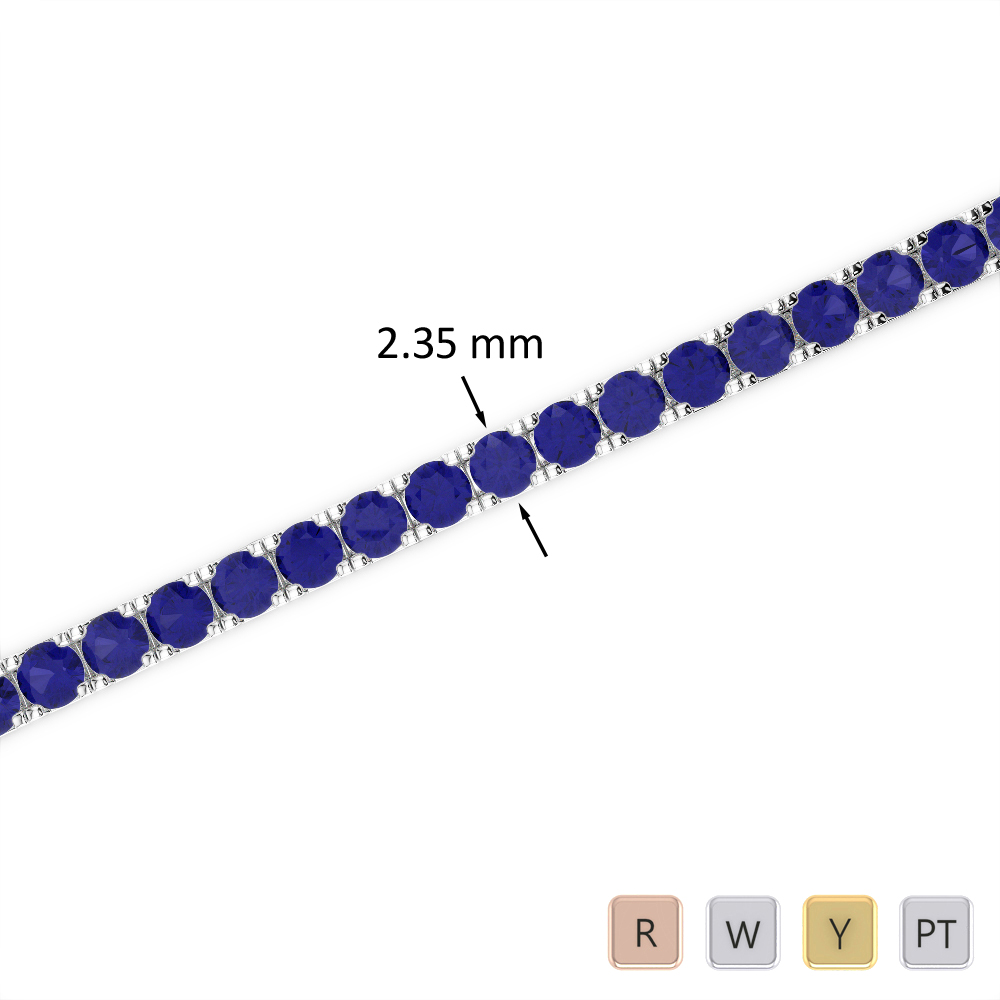 3 Ct Sapphire Bracelet in Gold/Platinum AGBRL-1015