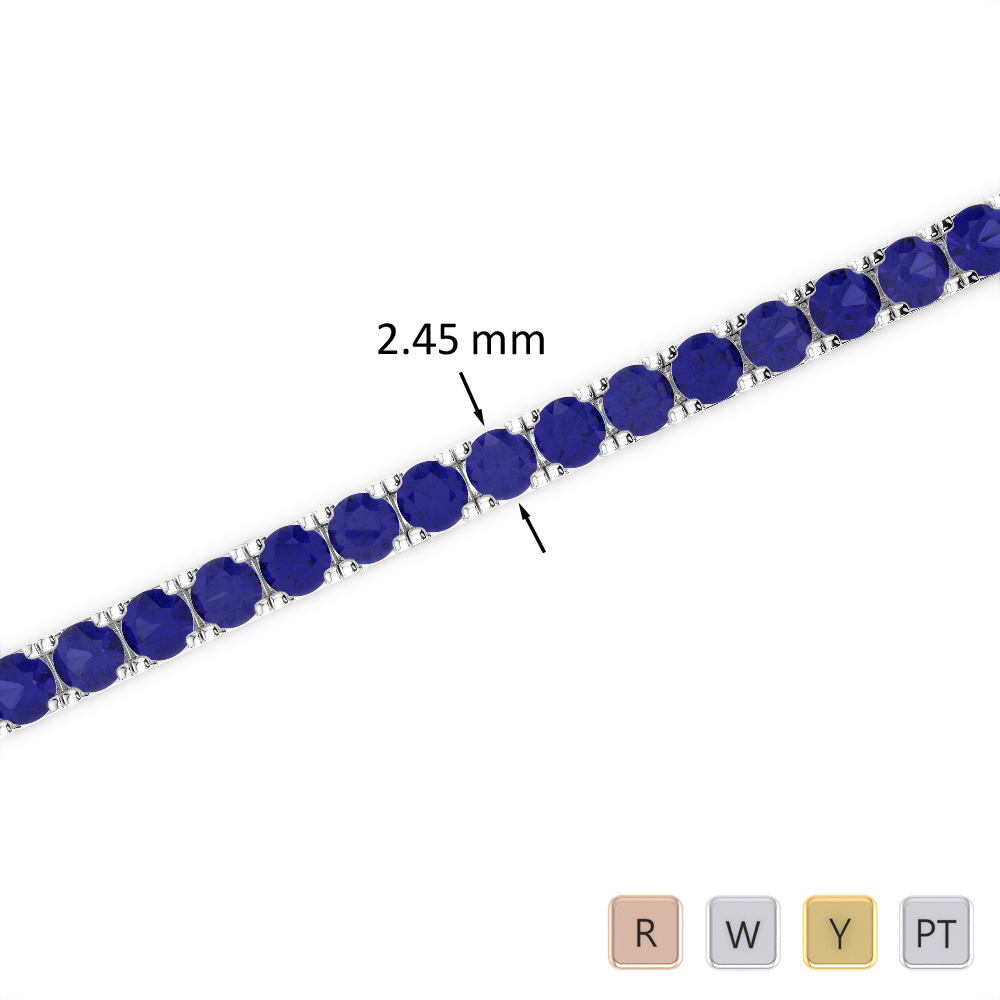 4 Ct Sapphire Bracelet in Gold/Platinum AGBRL-1016