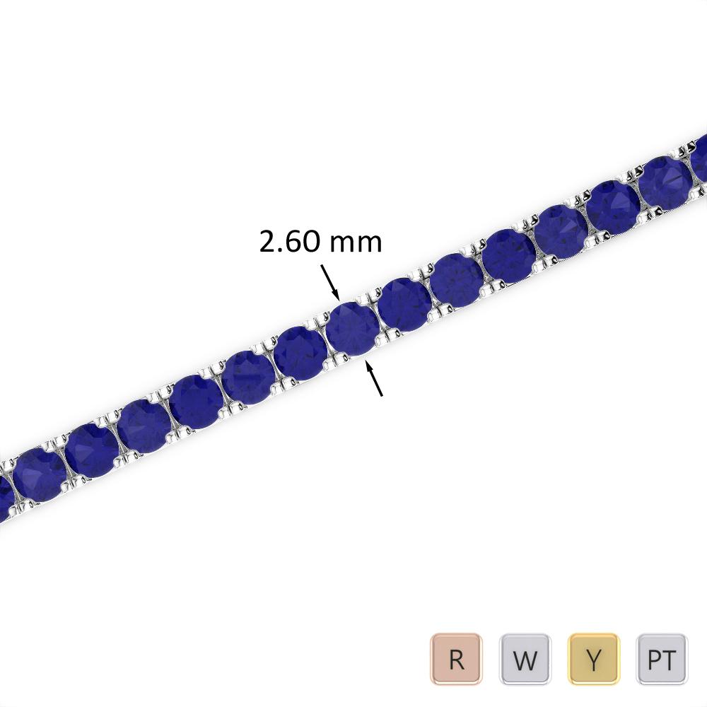 5 Ct Sapphire Bracelet in Gold/Platinum AGBRL-1017