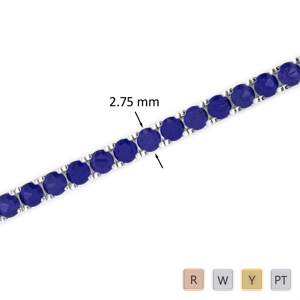 7 Ct Sapphire Bracelet in Gold/Platinum AGBRL-1018