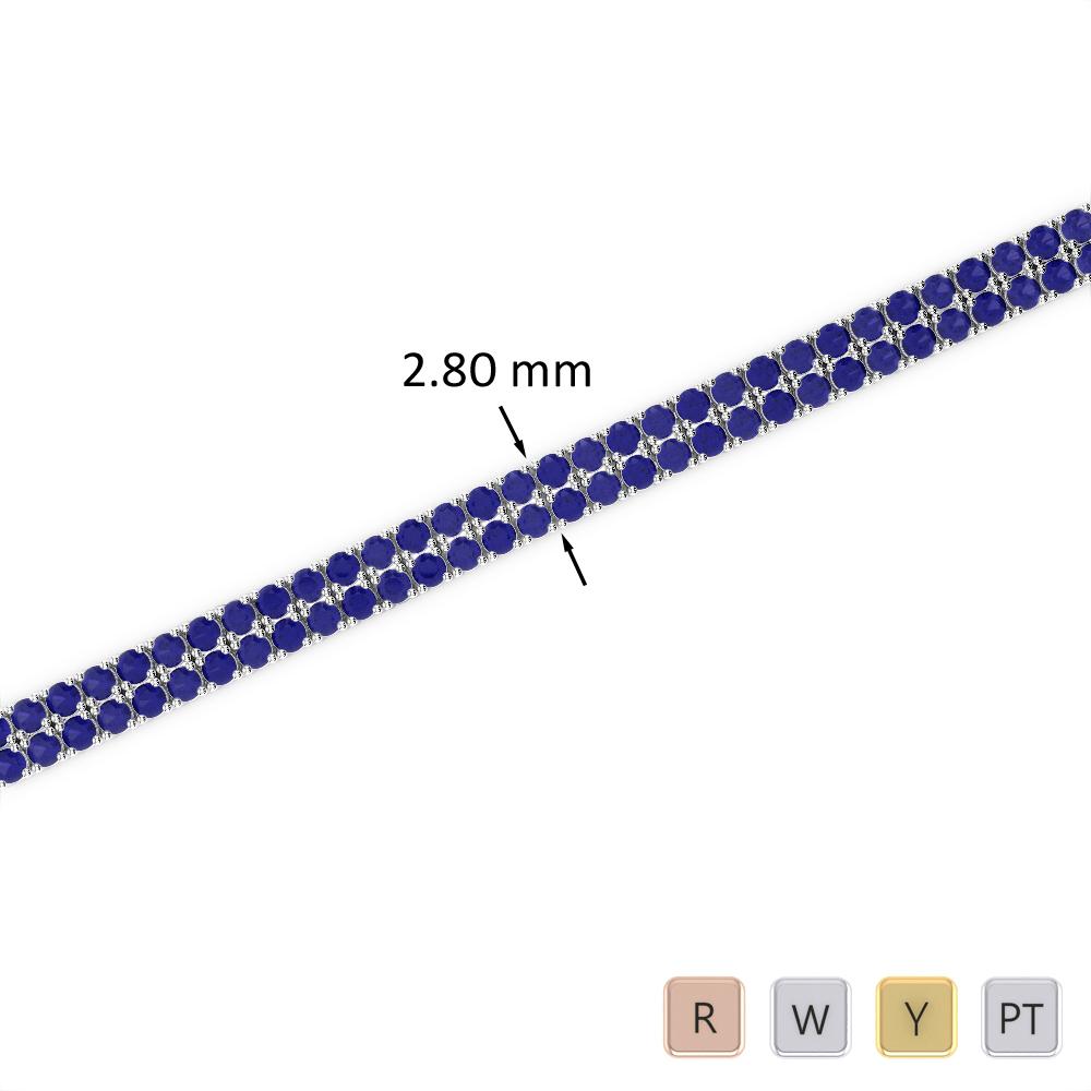 4 Ct Sapphire Bracelet in Gold/Platinum AGBRL-1030