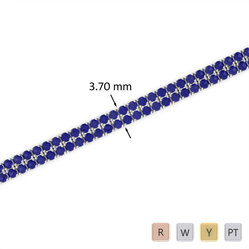4 Ct Sapphire Bracelet in Gold/Platinum AGBRL-1031