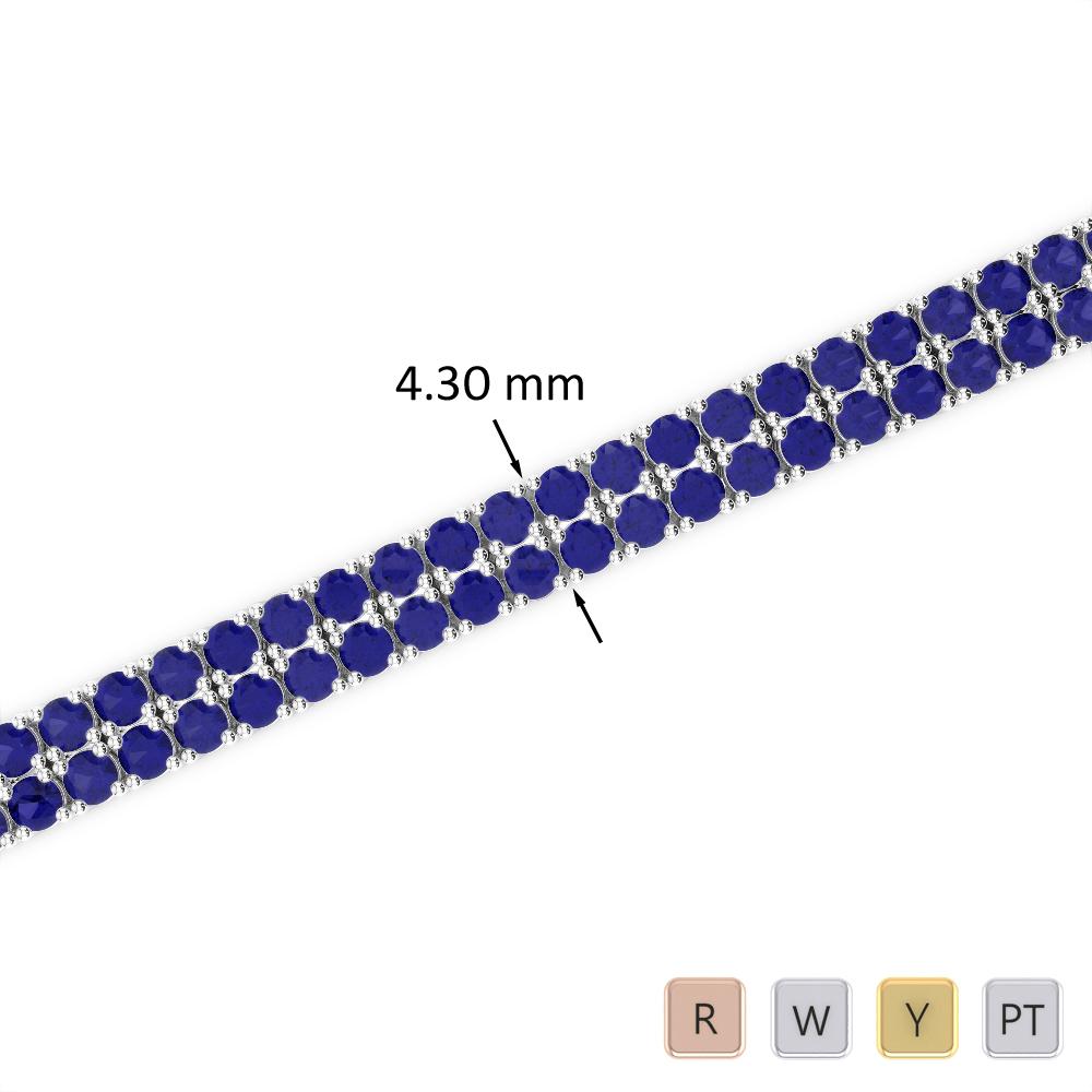 6 Ct Sapphire Bracelet in Gold/Platinum AGBRL-1032
