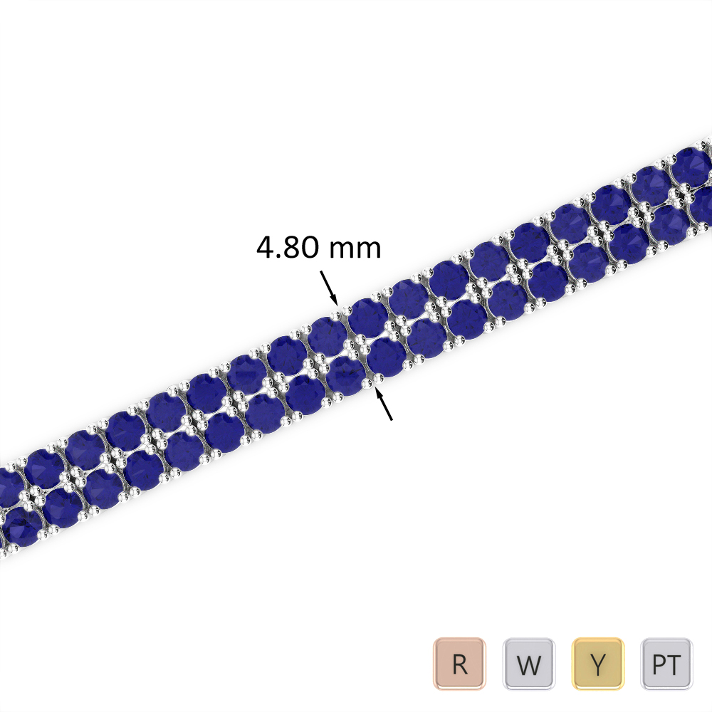 7 Ct Sapphire Bracelet in Gold/Platinum AGBRL-1033