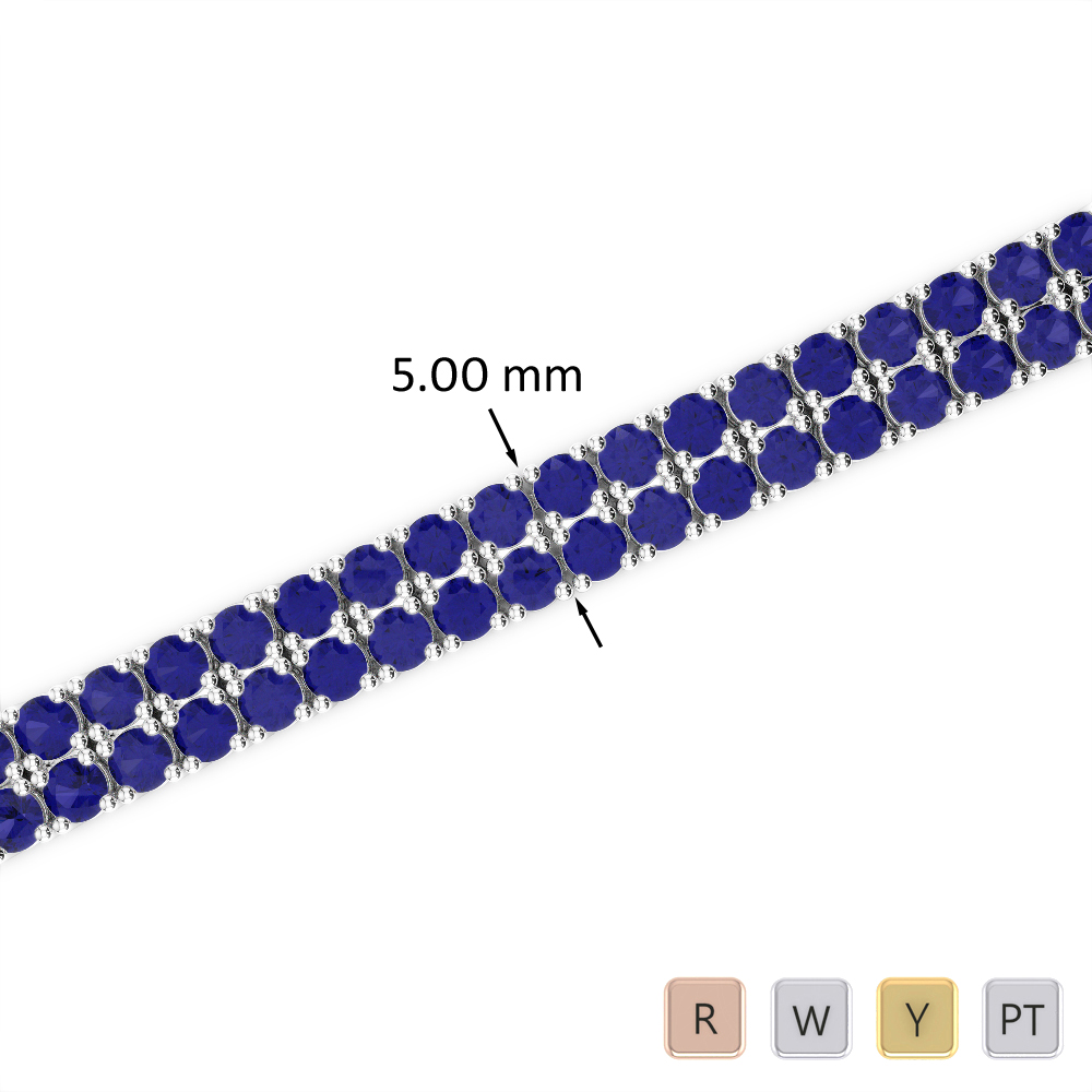 7 Ct Sapphire Bracelet in Gold/Platinum AGBRL-1034