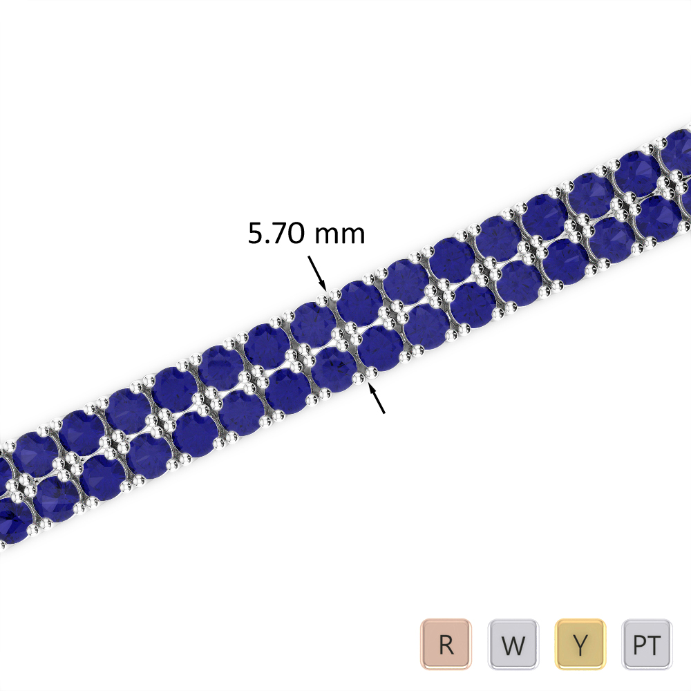 13 Ct Sapphire Bracelet in Gold/Platinum AGBRL-1036