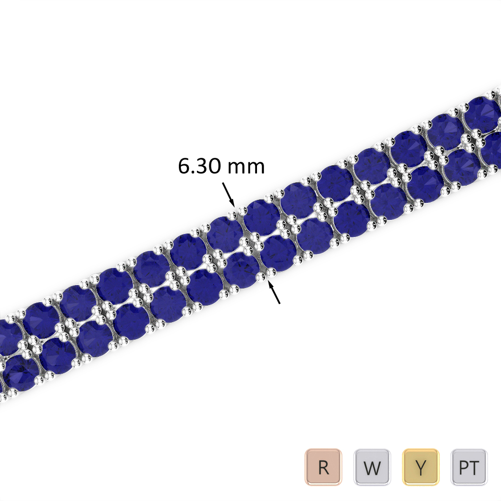 15 Ct Sapphire Bracelet in Gold/Platinum AGBRL-1037